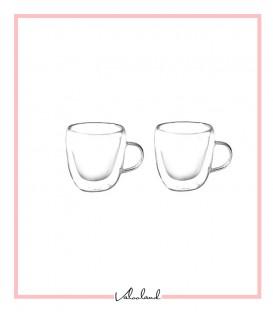 لیوان دو جداره دسته دار 2 تایی