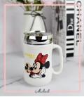 ماگ همراه دیزنی مدل میکی و مینی در دار نقره ای