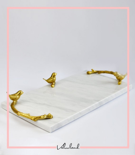 سینی دسته دار دسته شاخه و گنجشک طلایی سفید مستطیل 20*40