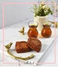 سینی دسته دار دسته شاخه و گنجشک طلایی سفید مستطیل