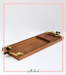 سینی چوبی با دسته زیتون مستطیل