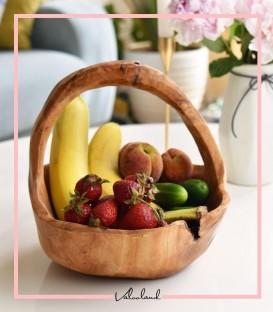 ظرف میوه خوری چوبی دسته دار