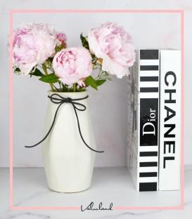 گلدان سرامیکی حجمی پاپیون دار رنگ سفید