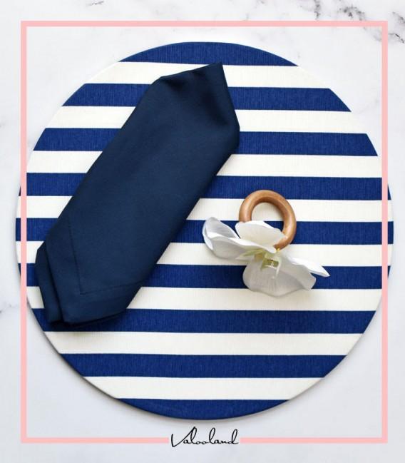 ست زیر بشقابی دستمال گیره آبی راه راه
