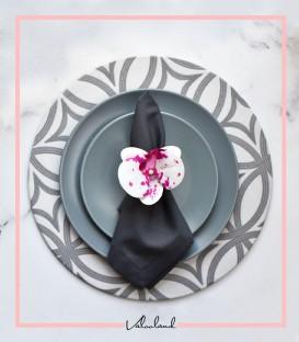 ست زیر بشقابی دستمال حلقه گل طوسی روشن