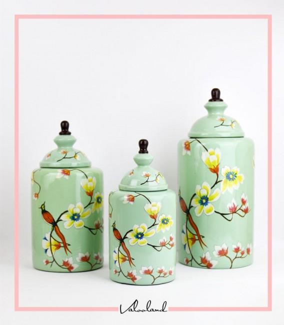ست سه تایی بانکه گلدار سبز آبی