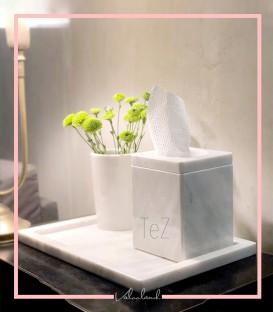 ست سینی ،جا دستمال کاغذی و گلدان سنگی سفید تز