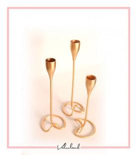 شمعدان فلزی رومیزی 3 تایی طلایی پایه پیچ