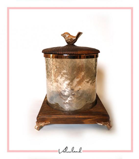 بانکه متوسط شیشه ای با پابه چوبی