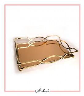 سینی مستطیلی طلایی سایز متوسط دسته ساده آینه برنزی