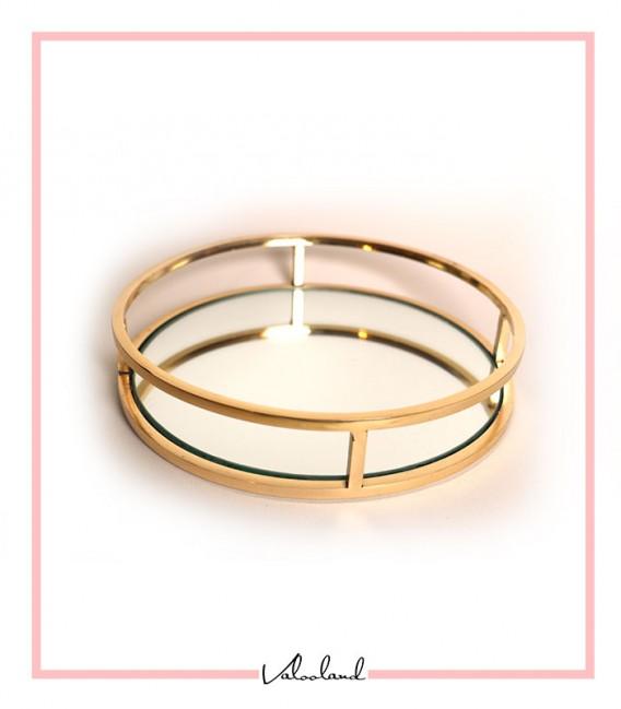 سینی گرد دسته طلایی ساده کوچک