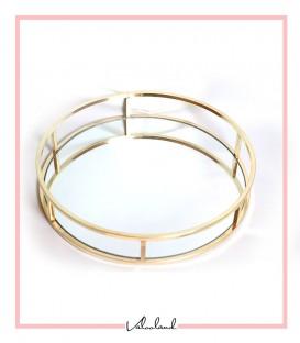 سینی آینه ای گرد دسته طلایی ساده