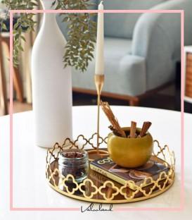 سینی گرد دسته طلایی طرح گل آینه برنزی بزرگ