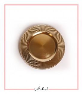زیر بشقابی طلایی دکوراتیو پتینه طلایی پلاستیکی ست 6 تایی