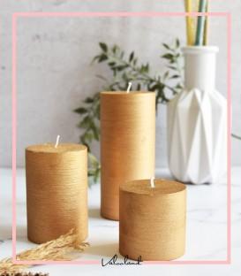 ست شمع 3 تایی imperial استوانه ای طلایی