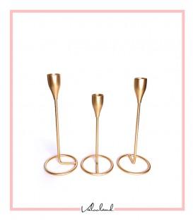 شمعدان فلزی رومیزی 3 تایی طلایی پایه ساده