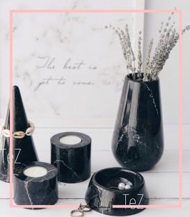 گلدان بالا باریک مشکی سنگی