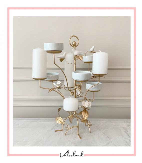 ست هفت سین درختی برگدار طلایی سفید با 8 کاسه چینی