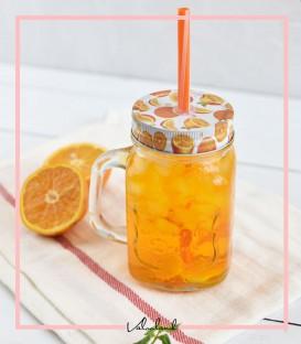 لیوان اسموتی شیشه ای طرح پرتقال