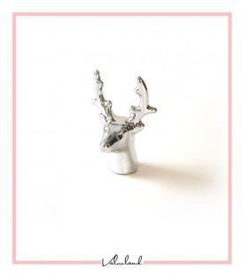 مجسمه سر گوزن دکوراتیو نقره ای کوچک