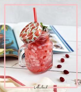 لیوان اسموتی شیشه ای طرح توت فرنگی
