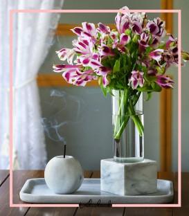 گلدان شیشه ایی با پایه سنگی