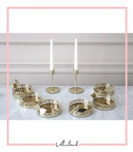 ست هفت سین پروانه دار فلزی طلایی 8 تکه