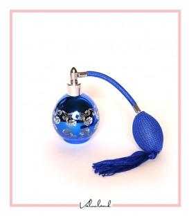 جا عطری آبی شیشه ای گلدار