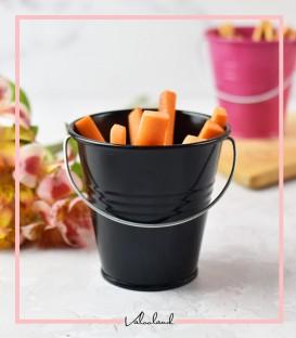 سطل و گلدان فلزی رنگی با دسته فلزی