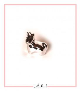 مجسمه اسب شاخدار نشسته نقره ای کوچک