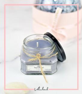 شمع شیشه ای طوسی با رایحه وانیل