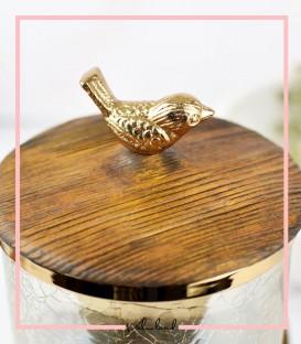 بانکه کوچک شیشه ای با پابه چوبی