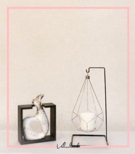 جا شمعی تکی آویز دار نقره ایی