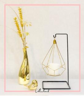 جا شمعی تکی آویز دار طلایی