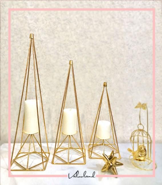 ست جا شمعی کنار سالنی سه تایی طلایی بلند