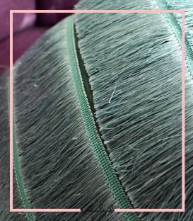 کوسن مخمل سبز رنگ با ریش ابریشمی فیروزه ای(فول ریش)