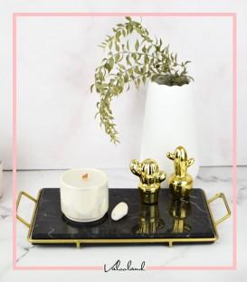 سینی سنگی مشکی دور طلایی
