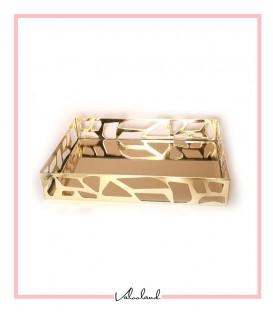 سینی مستطیل طلایی طرحدار آینه برنزی