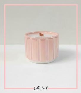 شمع سرامیکی راه راه صورتی