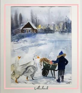 تابلوی نقاشی با آبرنگ طرح زمستان