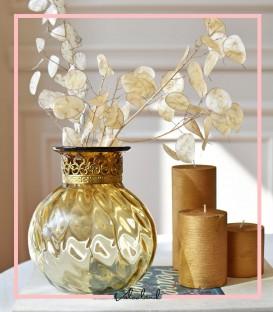 گلدان شیشه ای گرد طلایی تورلان