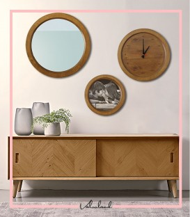ست آینه قاب عکس ساعت چوبی ماهانا