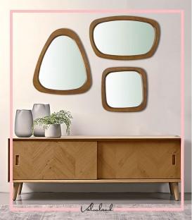 ست آینه مینیمال با قاب چوبی