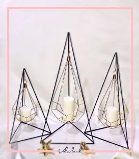 ست جا شمعی کنار سالنی نیل مشکی طلایی