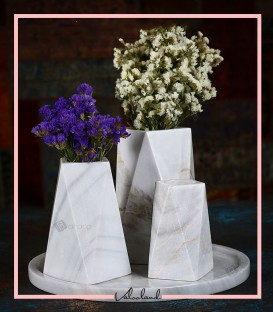 ست گلدان سنگی مثلثی سفید