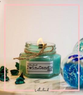 شمع آبی بدون رایحه با فیتیله چوبی