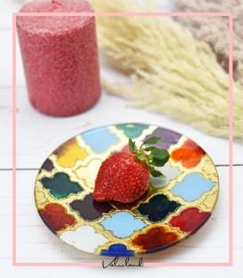 بشقاب مراکشی تزیینی شیشه ای