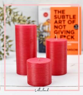 ست شمع 3 تایی imperial استوانه ای قرمز