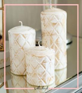 ست شمع سه تایی طرح لوزی پتینه سفید طلایی