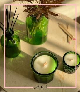 شمع لیوانی طرح کریستال سبز رنگ
